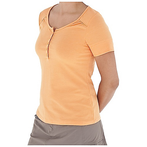 Entertainment Free Shipping. Royal Robbins Women's Essential Henley S-S Top DECENT FEATURES of the Royal Robbins Women's Essential Henley Short Sleeve Top Rotated shoulder seams with soft gathers The SPECS Regular fit Standard length Fabric: Stretch Jersey 5 g 88% Cotton / 12% Polyester Garment washed UPF 50+ - $49.95
