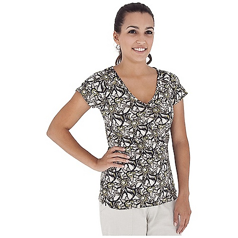 Entertainment Free Shipping. Royal Robbins Women's Urban Garden Ruched S-S V-Neck Top DECENT FEATURES of the Royal Robbins Women's Urban Garden Ruched Short Sleeve V-Neck Top Ruched detail at sides The SPECS Regular fit Hip length Fabric: Stretch Jersey 6 oz 58% Cotton / 37% Polyester / 5% Spandex Garment washed UPF 50+ - $49.95