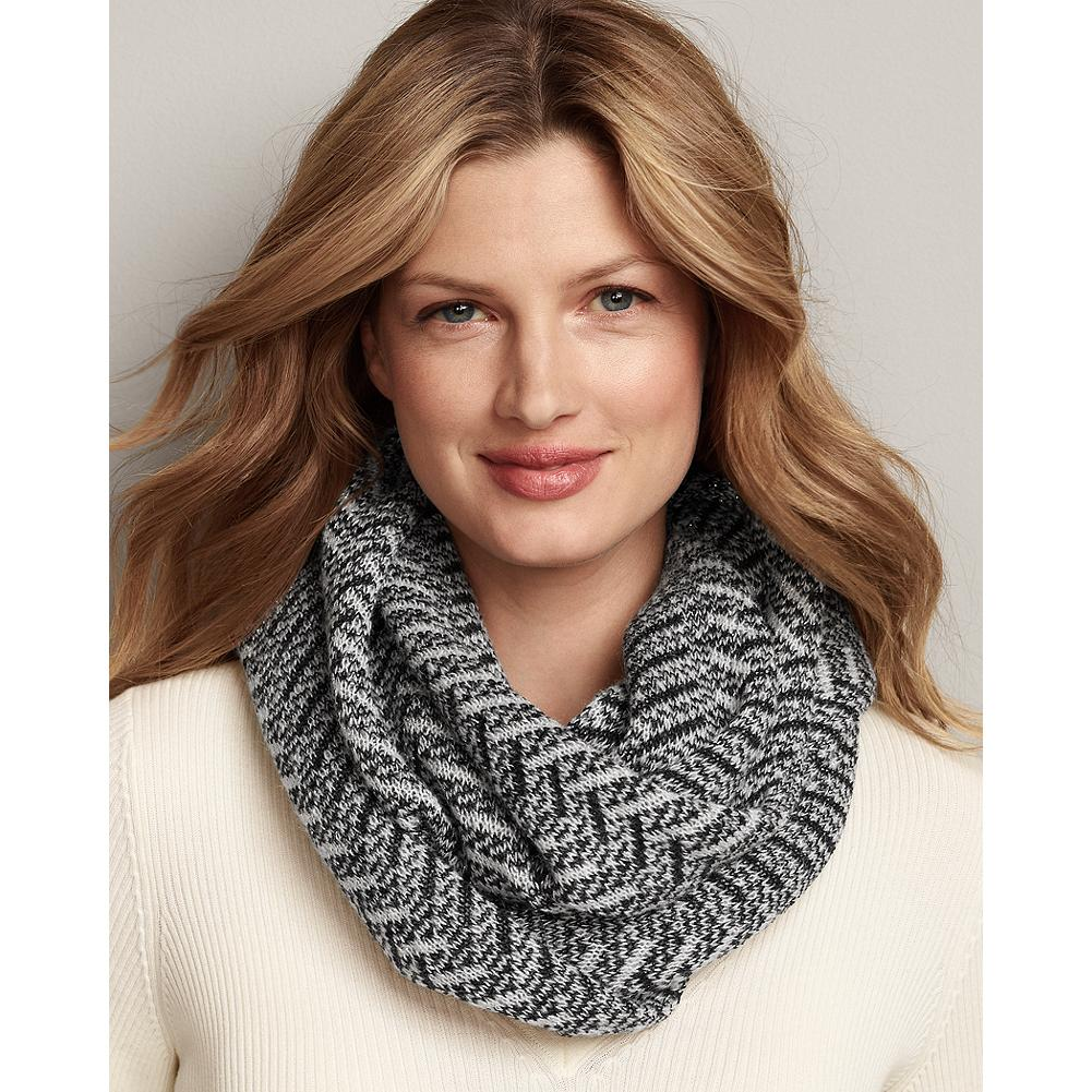 Eddie Bauer Zigzag Knit Loop Scarf - This scarf features an easy-to-wear infinity-loop design with a touch of Lurex for shimmer and interest. - $14.99