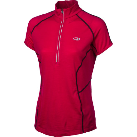 Fitness Slip on the Icebreaker Women's Run Quest Short-Sleeve Zip Shirt, slide your house key in its back stash pocket, and head out the door for a breath of fresh air on the trail. - $63.00