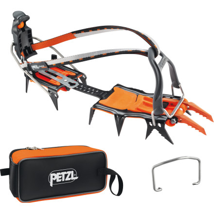Climbing The Petzl Lynx LL Crampon with Fakir Crampon Bag won't cook or pack your trip for you, but these versatile spikes will do just about everything else. Interchangeable front bindings integrate with regular boots as well as those without toe welts, and a stainless steel toe bail holds your foot fast. To complement this intuitive design, Petzl made the heel bail height-adjustable to incorporate the largest range of footwear possible. - $245.00