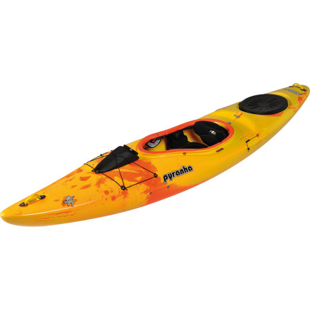 Kayak and Canoe You enjoy whitewater and open water, rivers and creeks, but you can't afford to keep an entire quiver of boats to cover every paddling scenario. Pyranha created the Fusion Kayak to solve this problem by giving you a one-boat option for both fast-moving water and open stretches of ocean or lake. One of two boats in Pyranha's river touring lineup, the Fusion is first and foremost forgiving. The hull is more stable and less sensitive to lateral movement than a river runner like the Everest, but it's more maneuverable than the long-and-fast Speeder. A built-in skeg system improves tracking on open water, the two-position backrest can be adjusted for either comfort or control, and the rear hatch is roomy enough to hold up to 78 liters of gear for a long day on open water. Hit the river and you'll discover the surprising maneuverability offered by the hull rocker, the foam bulkhead that keeps you floating high over river features, and the grab loops and rescue points that add security not typically offered by a touring boat. For everyone from aspiring to expert paddlers, this boat offers the ideal balance between the nimble shape and safety of a river boat and the comfort and efficiency of a touring rig. - $998.95