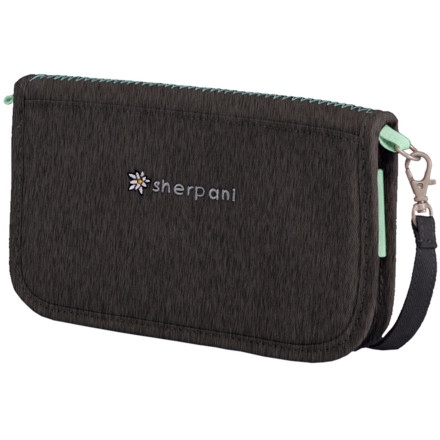 Entertainment If you're not into leather, and faux leather wallets just seem cheesy, carry your essentials around in the Sherpani Women's Lucky Large Wallet instead. Made from earth-friendly, 67% recycled fabric, the Lucky wallet has space for your ID, five cards, your checkbook, and cash. It even has an elastic loop for your pen, so you're never without one when you need to write a big, fat check (lucky you). When you put the checkbook back away and zip up the wallet, the pretty floral detailand perhaps some deep-breathing exerciseswill help you calm back down. - $22.95