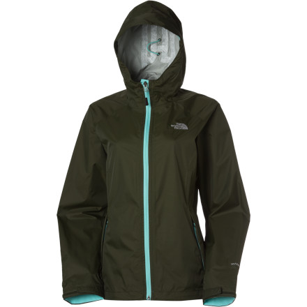 Fitness Stow The North Face Women's Ederra Jacket into its own pocket, stash it in your expedition pack and stay dry when the sky opens up with a nasty storm. Waterproof breathable HyVent fabric fends off the rain without leaving you feeling stifled underneath and underarm zips provide ventilation. Low on weight, fully featured and cut for layering underneath, this rain jacket does it all when you're out in the wild and under siege from the weather. - $129.95