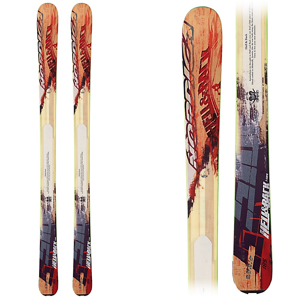 Ski Nordica Hell and Back Skis 2013 - The Nordica Hell and Back Skis are a lightweight and versatile pair of skis that you can ride all over the mountain in most hellish of conditions. Early Rise camRock pulls the tip back 25% creating a slight tip rocker. This means that you will have increased floatation, velocity and maneuverability in soft snow. This style of camRock will also make it easier to initiate turns in any condition. These skis are constructed with i-Core Technology which utilizes its wood core to lighten the weight by 20% helping to make these skis a little more playful. Whether you like the side country, back country or the front side of the mountain, the Nordica Hell and Back Skis offer you all-mountain access on an awesome pair of sticks. . Actual Turn Radius @ Specified Length: 17m (@ 169cm), Warranty: One Year, Construction Type: Sidewall, Core Material: Wood, Base Material: Sintered, Special Features: Energy Ca i-Core, Special Features: Early Rise camRock, Rocker: Tip Rocker/Camber, Used: No, Titanium: No, Turn Radius: 16-20, Skill Range: Expert - Pro, Model Year: 2013, Product ID: 277190, Ski Gear Intended Use: All Mountain, Waist Width: 96-105mm, Alpine Touring: Yes, Twin Tip: No, Race: No, Binding Weight Range: N/A, Binding DIN: N/A, Bindings Included: No, What Binding is Included?: None, Gender: Mens, Type: All-Mountain Wide Skis (91-110), Tip/Waist/Tail Widths: 135-98-125mm (@ 169cm), Tail Profile: Flared - $559.19