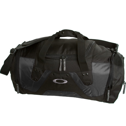 Entertainment The Oakley Men's Large Carry Duffel swallows up all your outdoor gear or gym necessities so you don't have to carry three bags full of stuff when you leave the house. A rubberized bottom keeps your clothes and shoes dry when you drop this bag on the wet floor, and a padded shoulder strap takes the bite out of carrying a heavy load. Oakley gave this beast a mesh vent to help your wet gear dry out a little when you're on the go. - $60.00