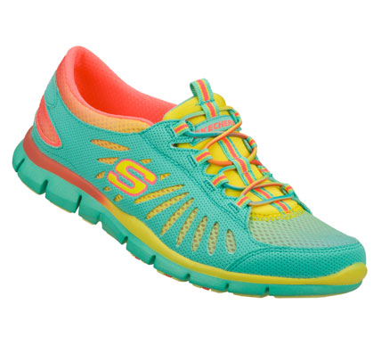 Fun lightweight sporty style gets colorful in the SKECHERS Gratis - Hair Raising shoe.  Smooth synthetic leather and colorful mesh fabric upper in a slip on sporty casual bungee laced sneaker with stitching and overlay accents. - $65.00