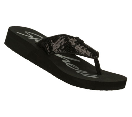 Surf Enjoy a wealth of youthful style in the SKECHERS Cali Beach Read - Young and Rich sandal.  Soft fabric upper in a low wedge heeled flip flop thong sandal with sequin details. - $30.00