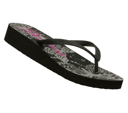 Surf Put more color and style into your warm weather look with the SKECHERS Cali Beach Read - Havanas sandal.  Soft rubbery plastic upper in a zori flip flop thong sandal with glitter finish; low wedge heel with colorful footbed. - $28.00