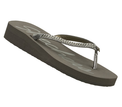 Surf Give your feet pure easygoing style with the SKECHERS Cali Beach Read sandal.  Soft faux suede upper in a slim strap flip flop thong sandal with glittering rhinestones and a low wedge heel. - $22.00