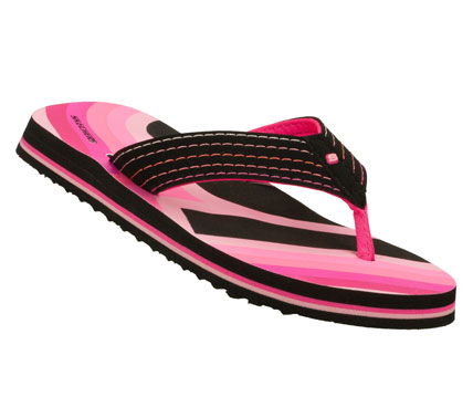 Surf Bright days become even more fun wearing the SKECHERS Scurried - Sun Up Cruisers sandal.  Soft synthetic upper in a flip flop casual thong sandal with colorful detail and stitching accents. - $22.00