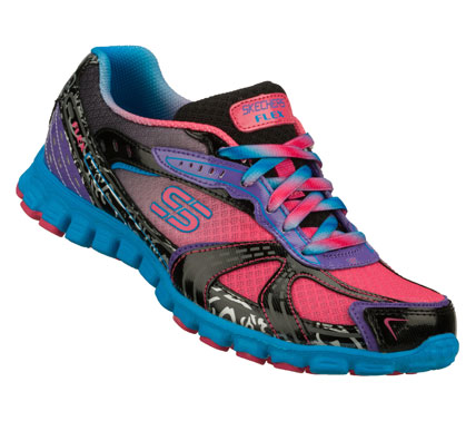 Get into shape with fun color and comfort in the SKECHERS EZ Flex - Whip It shoe.  Shiny patent leather; synthetic and mesh fabric upper in a lace up bright colorful sporty sneaker with stitching and overlay accents. - $65.00