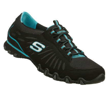 Fitness Timeless sporty style and comfort comes in the SKECHERS Bikers - Century shoe.  Smooth faux leather and mesh fabric upper in a slip on bungee laced casual sneaker with stitching and overlay accents. - $55.00