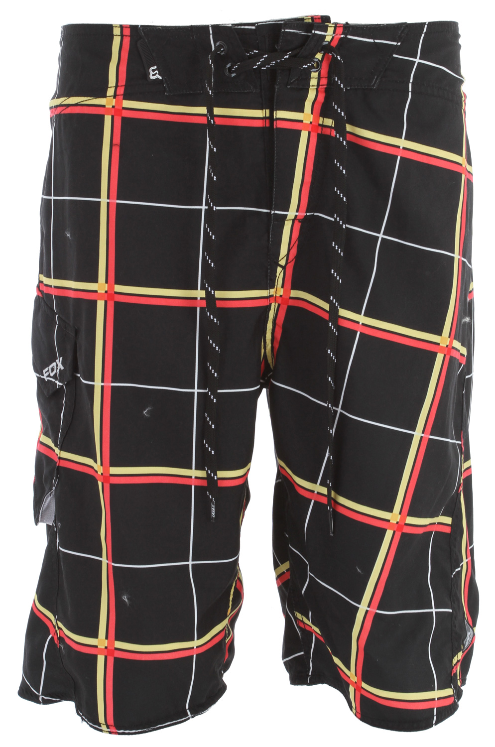 "Surf Key Features of the Fox Lloyd Plaid Boardshorts: 100% polyester microsuede All over sublimated graphics Fox embroidery at pocket flap Side pocket with mesh below Velcro fly 22 1/2"" outseam - $34.95"