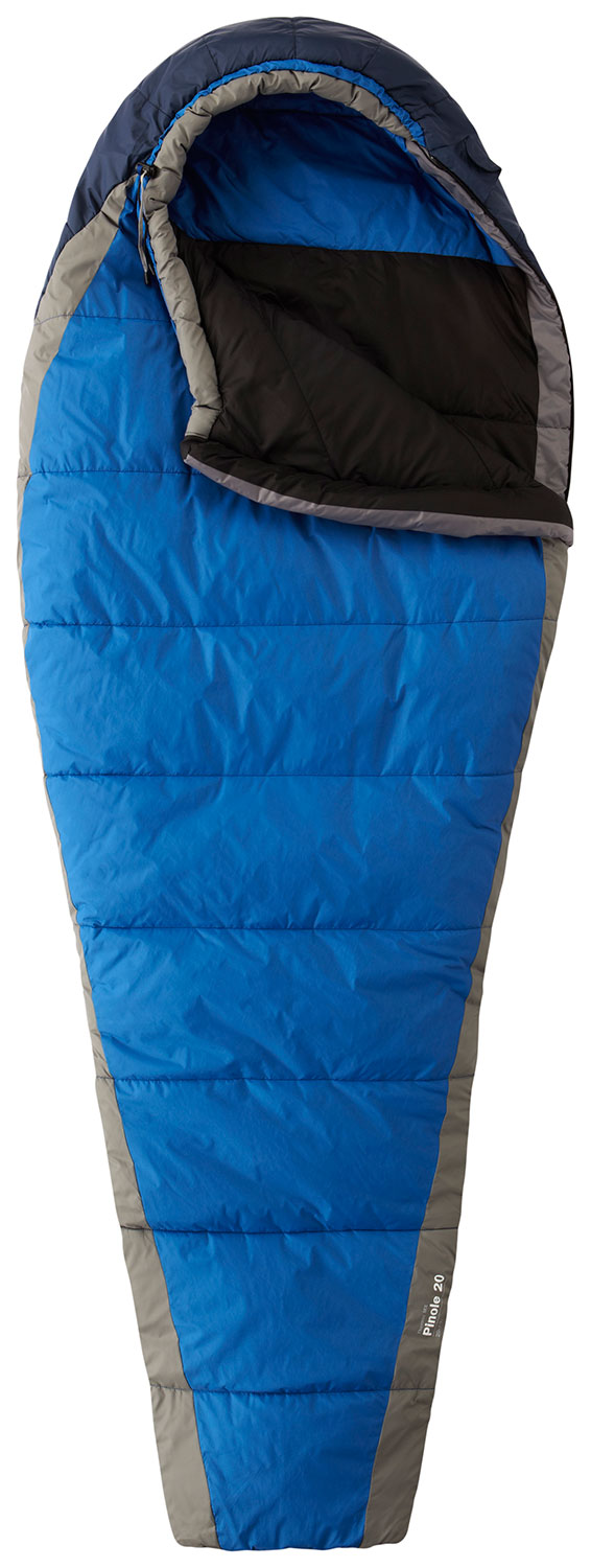 Camp and Hike Insulated with warm and lightweight Thermic MX, with an offset quilt construction to maximize loft and prevent cold spots. Comfort mummy cut delivers warmth without constriction. Face gasket and Ergo Draft Collar work together to seal in warmth.Key Features of the Mountain Hardwear Pinole 20 Sleeping Bag Reg LH: Offset quilt construction prevents cold spots Comfort mummy cut efficiently maximizes warmth without constriction Face gasket and tailored hood comfortably block drafts at the hood opening and seal in warmth Comfort Footbox follows natural foot position for maximum warmth and comfort Microfleece-lined stuff sack (included) doubles as a pillow Imported Bag Shape Comfort Mummy Cut Weight: 3 lb. 3 oz. / 1.43 kg. Insulation Thermic MX Lining: 75D Polyester Taffeta Shell Taffeta Nylon 50D Loft: 5 in / 13 cm Stuff Size: 8 in / 20 cm EN Rating: T-Limit26 F / -3C EN Rating: T-Comfort35 F / 2C Inside Length: 78 in / 198 cm Shoulder Girth: 62 in / 157 cm Foot Girth: 38 in / 97 cm Hip Girth: 58 in / 147 cm - $104.95