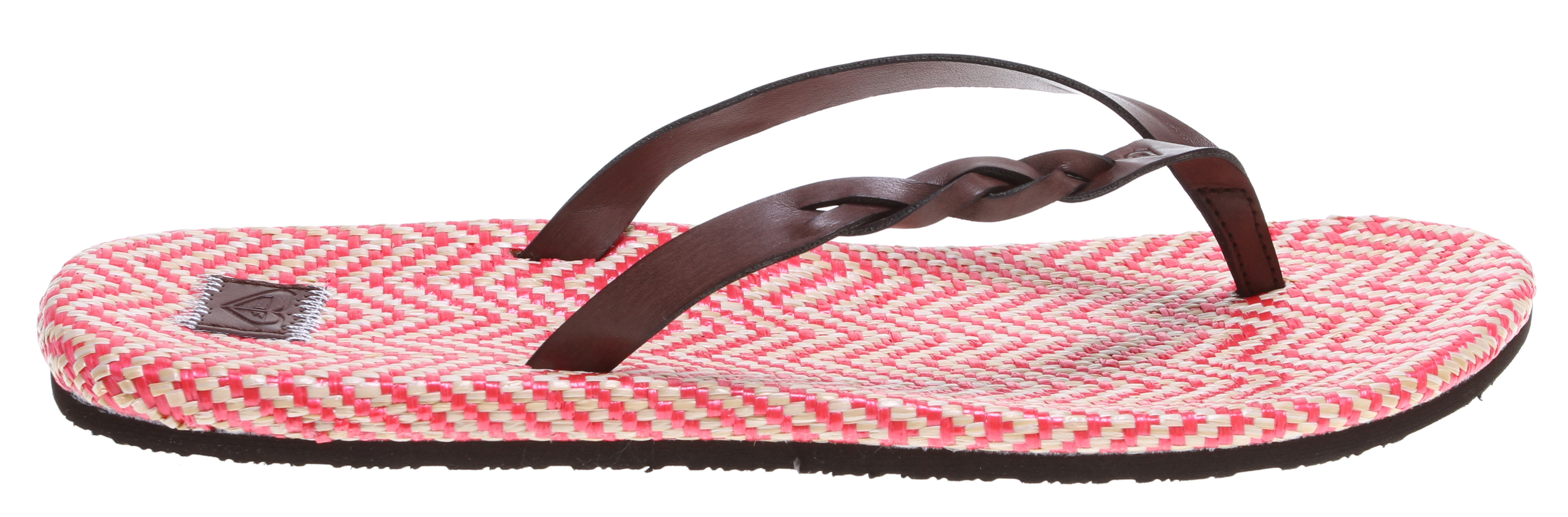Surf Get set for your tropical vacay with our Kalani Sandals! Our cute sandals feature a braided strap and a cheerful zig-zag print tatami wrapped sock. We think it's a classic, cool staple that definitely needs to go in your getaway bag! Burnished side braid synthetic straps with embossed Roxy heart logo. Embossed PU label with contrast stitch. EVA outsole. Imported. - $29.00
