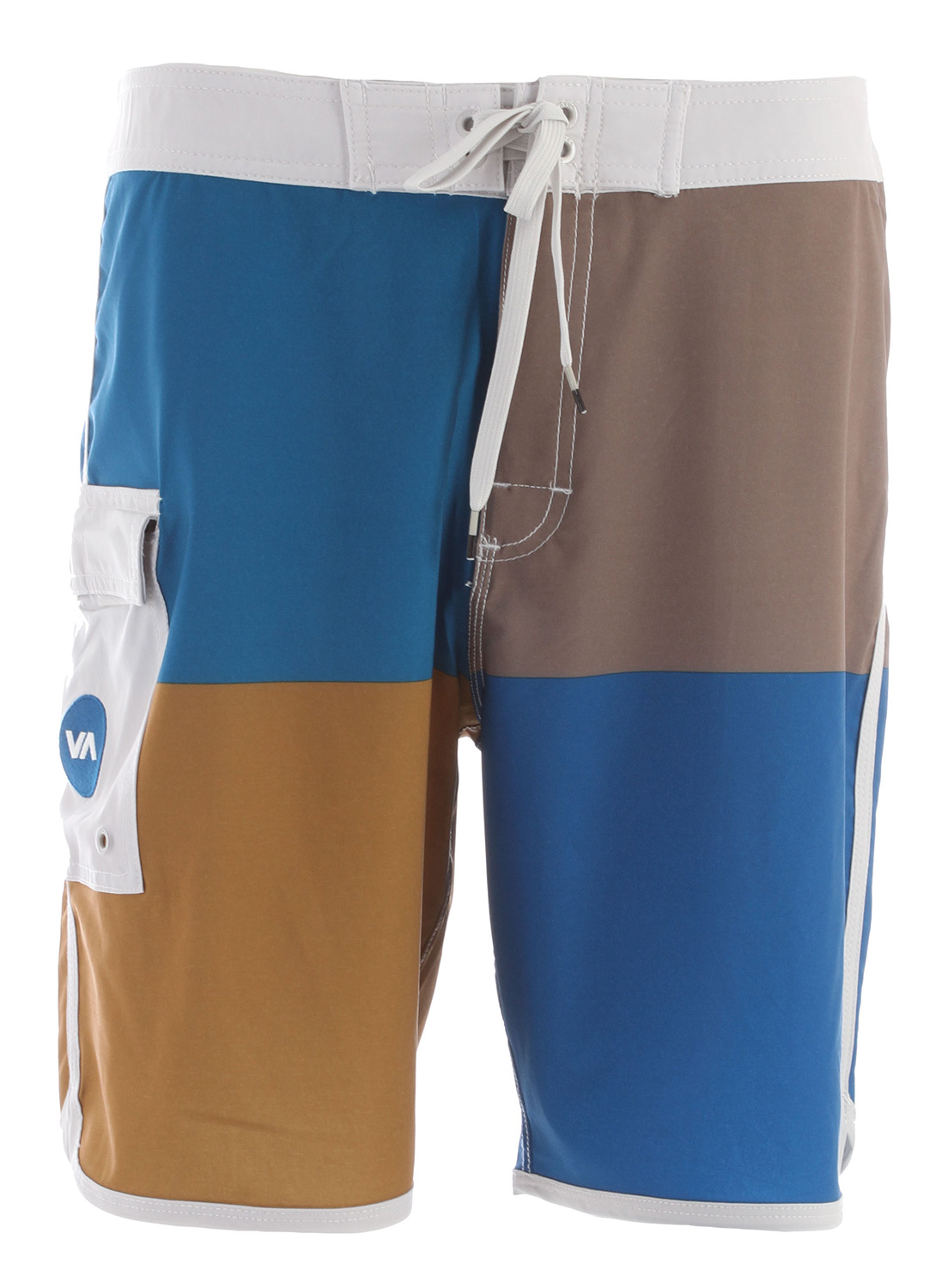 "Surf Key Features of the RVCA Quadro Boardshorts: 85% Polyester/15% Spandex 4 Way Performance Stretch. Print at body. Zipper with drawcord and hook & loop closure at fly. Triple needle stitch on rises. Patch pocket at wearers right side with flap, zipper, and hook & loop closure. RVCA screenprint at wearers lower left side. Circle VA embroidery at pocket. Outseam: 19"" - $44.95"