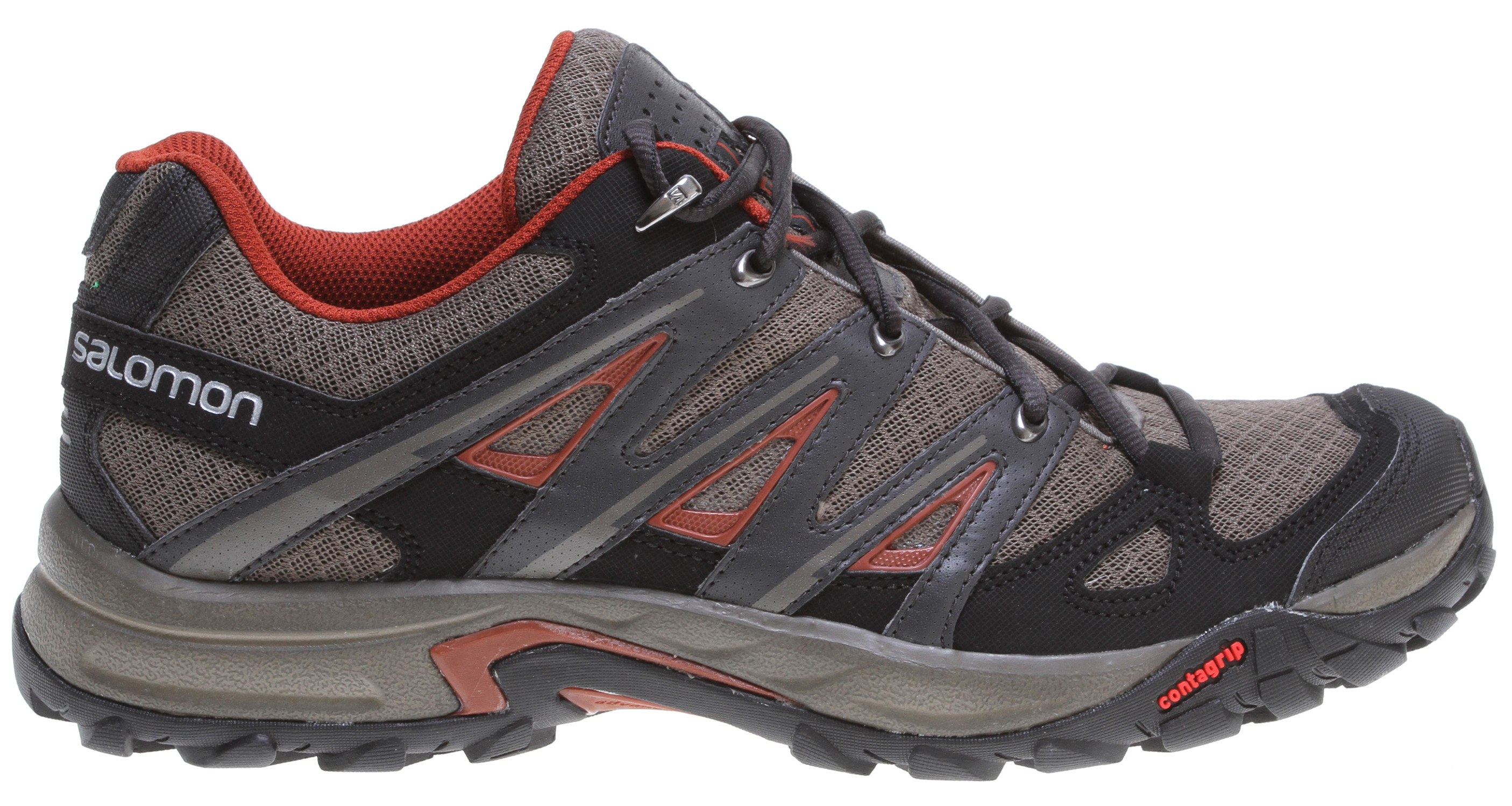 Camp and Hike Very light and amazingly comfortable, the Eskape Aero provides the cushioning, breathability, and protection you need for hiking, exploring, and everyday adventures.Key Features of the Salomon Eskape Aero Hiking Shoes: Weight: 375G / 13.2 oz (size 9) Heel foam Breathable open mesh Textile Protective synthetic toe cap Mud guard Protective heel cap Sensifit Endofit Outsole: Non marking Contagrip Chassis: Advance Chassis Sock Liner: Die cut EVA Midsole: Injected EVA - $100.00