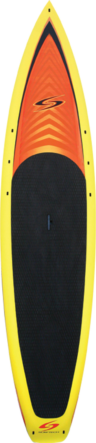 Wake Designed for the outdoor adventurer or entry-level racer, the Flowmaster's modest waterline translates into maximum glide with minimal effort. The wide standing area and boxy rails provide an ultra stable and relaxing paddling experience. These features combined with a comfy full deck EVA traction pad, integrated Lift-SUP handle and multiple webbing eyelets to accommodate gear storage, distinguish the Flowmaster as the premier SUP touring vessel on the water.  Get out and explore!  Multiple eyelets for webbing.Key Features of the Surftech Flowmaster Paddleboard:  Soft EVA deck traction extends to nose for comfort   Wide standing area for added stability  Displacement bow  Easy carry Lift-SUP handle  High volume rails for maximum stability  Ankle/vest leash attachments  Subtle rocker to keep the nose above water  Flat area below your feet for stability and glide  Surftech's ultra durable AST construction QR code  Thickness where you want it for stability and flotation  Slight tail rocker for smooth glide  Removable center fin - $1,181.95