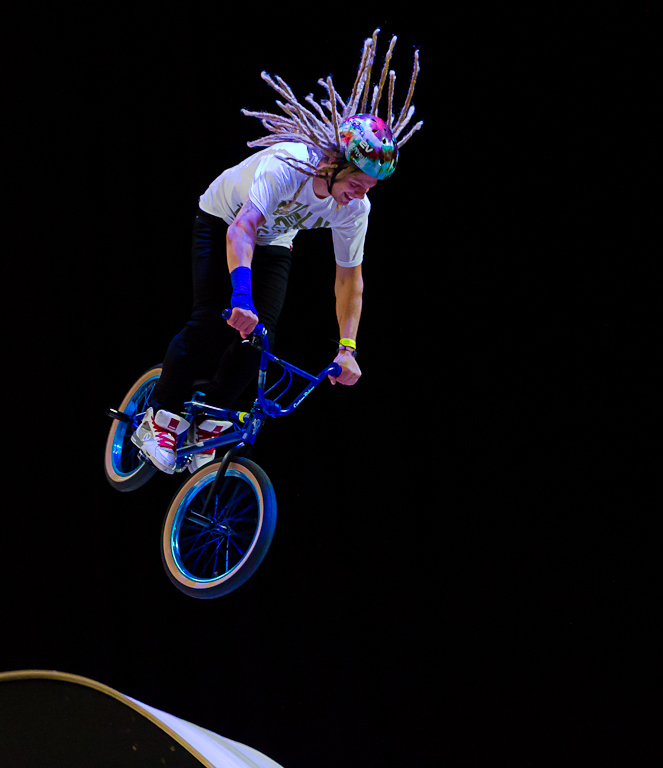 BMX Dreadlocked rider getting some air