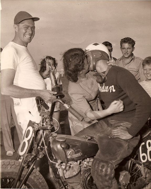 Auto and Cycle Race win on a Indian Motorcycle is worth a kiss.