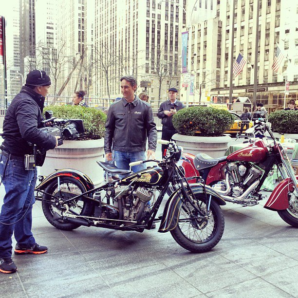 Auto and Cycle Mike Wolfe talking Indian Motorcycle on New York's Fox and Friends. #IndianIMS