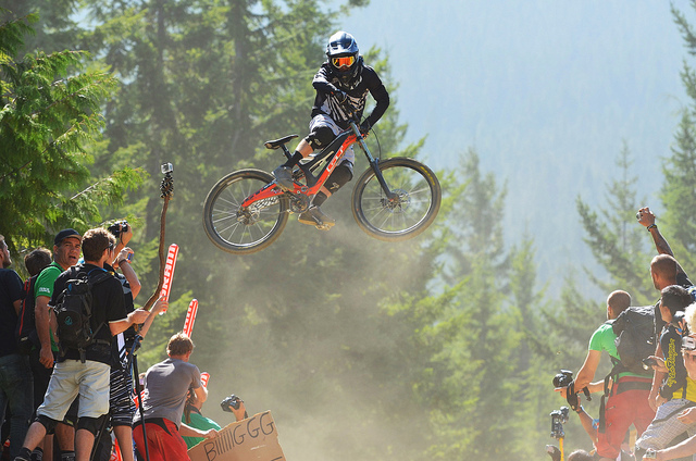 MTB Whistler Crankworx unofficial whip competition won by Tyler McCaul
