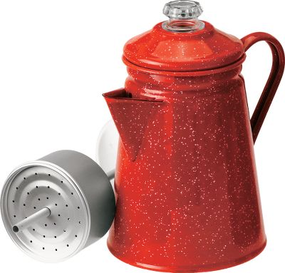 Camp and Hike GSI Outdoors Enamelware blends old-fashioned charm and functionality into one sturdy package. Built of heavy-gauge steel with a classic speckled enamel finish, this 8-cup perculator has been kiln-hardened twice at 1,400 F to stand up to scratches and chipping. Plus, three-ply construction maximizes heat distribution for even cooking. Weight: 21.3 oz. Dimensions: 8.00L x 5.90W x 9.00H. Color: Red. Color: Red. Type: Coffee Makers. - $24.99