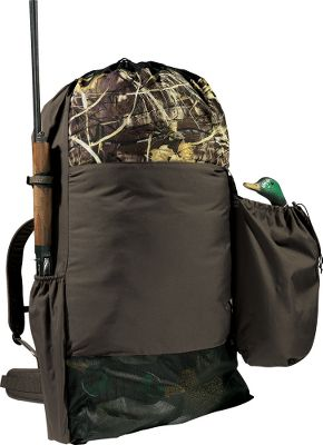 Hunting A gun sleeve and removable motion-decoy pouch set this decoy bag apart. Just detach the pouch, and your motion-decoy gear is ready. The gun sleeve lets you work hands free. Thick, molded-foam back and adjustable, padded, backpack-style straps. Holds up to 36 standard-size duck decoys. Floats when empty. Draining mesh bottom and easy-close drawstring. Cabelas-exclusive. Lifetime guarantee. Made in USA. Dimensions: 54H x 30W. Camo pattern: Realtree MAX-4. Color: Camo. - $79.99