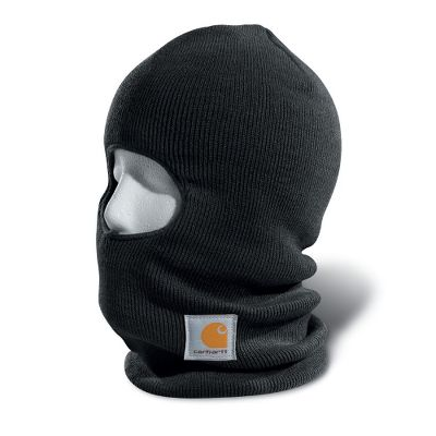 Protect your face from harsh, cold winds with this 100% acrylic stretch rib-knit face mask from Carhartt. Made of Thinsulate Flex Insulation for premium warmth. Anyone that goes outdoors will appreciate the extra length that protects the neck in cold weather. Carhartt logo label on front. One size fits most. Made in USA. Color: Black. Carhartt Style#: A161. Size: ONE SIZE FITS ALL. Color: Black. Gender: Male. Age Group: Adult. Material: Acrylic. - $16.99