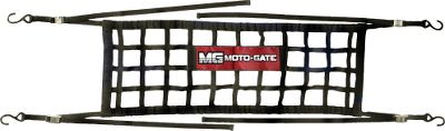 Skateboard Use as a super-strong nylon cargo net gate at the rear of your truck or as a tie-down to secure large to small loads. The MotoGate and Straps keep your equipment safe and secure while traveling. Ideal for trucks, vans and SUVs. The straps are made of 4,500-lb.-test nylon and the industrial-grade nonslip buckles are made to secure 400-lb. work loads per strap. Made of Soft-Tie, the hook-and-loop straps are scratch-free, ideal for use with tapered-style bars, and they boast double-security stitching for extra durability. Available: Full-Size Truck Compact Truck Premium Tie-Downs Size: FULL SIZE TRUCK. Type: Cargo Net. - $59.99