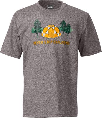 Camp and Hike This tee shirt is not only soft and comfortable, but also features a UPF rating of 50 and the moisture-transporting, comfort-preserving power of VaporWick. 100% polyester jersey. Imported.Sizes: XS-XL.Color: Charcoal Grey Heather. - $22.00