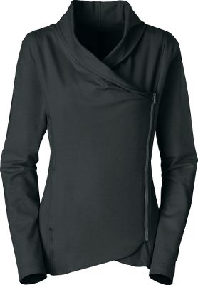 Get two looks out of one garment. The asymmetrical front placket can be zipped up like a jacket or worn open like a cardigan. Soft draping at the neckline when its zipped up. Elliptical hem is slightly longer in the back. On-seam pockets. 95/5 cotton/elastane French terry. Imported. Center back length: 26. Sizes: S-XL. Colors: Heather Grey, TNF Black. Size: X-Large. Color: Grey Heather. Gender: Female. Age Group: Adult. Material: Cotton. Type: Sweatshirts. - $65.00