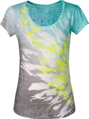 Lightweight textured 50/50 cotton/polyester burn-out knit, this scoop-neck tee is great for layering or for wearing alone on warmer days. Shaped hem provides added coverage. Imported.Center back length: 26.Sizes: S-XL.Colors: Graphite Grey/Green, TNF Black/Pink. - $33.75