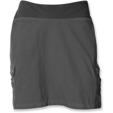 The Kuhl Aktiv Skort is ready for an adventure; with roomy pockets, technically advanced fabric and built-in shorts, there's no question it earns its space in your closet. Quick-drying Kinetik(TM) fabric stretches yet remains soft and extemely abrasion-resistant. Durable Water Repellent finish resists water to keep you dry as long as possible. Aktiv Skort features a mid-rise elastic waistband that dips down in front for comfort while staying higher in the back for complete coverage. 2 side cargo pockets provide easy storage. Interior polyester shorts contain hidden key pocket. - $40.93