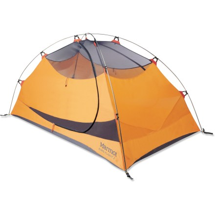 Camp and Hike The Marmot Earlylight 2P tent features a strong pole structure with an easy setup and 2 doors with 2 roomy vestibules; includes both a gear loft and footprint for extra value and convenience. - $169.93