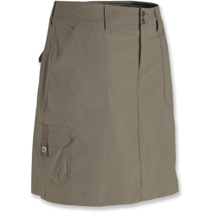 The Marmot Oasis Cargo skort is made from stretch-woven performance fabric and has interior built-in knit shorts for added comfort and protection. Add a feminine touch to your outdoor activities. Abrasion-resistant, quick-drying nylon/elastane blend is easy to care for and comfortable to move in; interior shorts wick moisture and have flexible flatlock seams. UPF 40 fabric rating provides very good protection against harmful ultraviolet rays. Contoured waistband adds shape and fits nicely; soft interior waistband wicks moisture to help keep skin dry. Features hand pockets and 2 cargo and 2 rear pockets with flap closures. Marmot Oasis Cargo skort has a regular fit. - $48.93