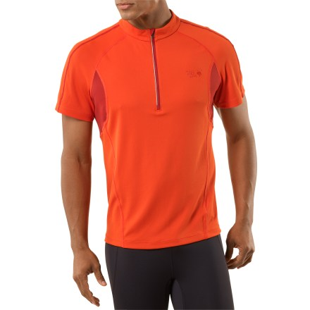 Fitness The Mountain Hardwear Elmoro(TM) Zip-T shirt makes it easy to get outside and train hard. Quick-drying fabric polyester and polypropylene fabric wicks moisture away from your skin while an antimicrobial finish fights odors. With a UPF 25 rating, fabric provides protection against harmful ultraviolet rays. Deep front zipper offers instant ventilation. Flatlock seams maximize motion and minimize abrasion. Reflective highlights and luminescent print increase visibility in low light. The Mountain Hardwear Elmoro shirt offers an athletic, close-to-body fit. - $41.93