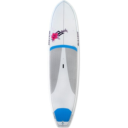 Surf The Naish Alana GS 10 ft. 10 in. stand up paddleboard is designed specifically with women in mind, offering a lighweight, versatile board that performs well in surf or flatwater. 10 ft. 10 in. length is easy for female paddlers to handle in surf and propel forward while touring; 32 in. width offers great stability relative to the shorter length. Stand-out appeal of the Alana GS 10 ft. 10 in. board lies in a unique, channelized bottom shape that helps it track like a much longer board. Glass composite construction starts with a molded EPS foam as the core which bonds to glass layers that protect and seal the EPS core against any water leakage. An extra layer of wood reinforces the stance platform and adds durability by wrapping around the rails, enhancing the rigidity and strength of the board. Outer glass layer seals it all up and maximizes impact resistance so you can enjoy your Alana for many seasons to come. 32 in. width provides great stability for any skill level; high volume offers a solid platform for any size paddler, large or small. Low rocker design from nose to tail enhances stabiltiy and forward glide without giving up its ability to perform well in light surf. Integrated EVA deck pad provides exceptional grip when surfing and paddling flatwater. Center handle is shaped like a ledge, not just a flat slot with finger holes; it allows you to really get a grip by curving your fingers inside the board. You can even pick up the board when it's flat on the ground with this ledged carry handle. The Naish Alana 10 ft. 10 in. GS stand up paddleboard features a 10.5 in. fin for improved tracking. - $1,529.00