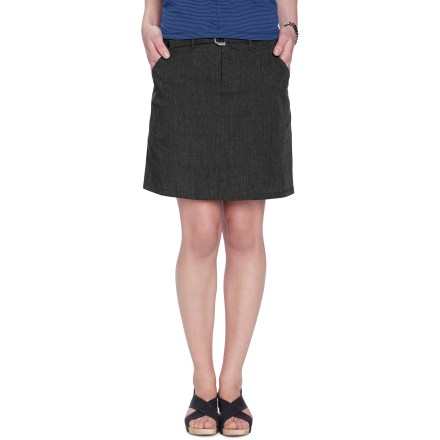 Meant for motion, the sleek, sexy Nau Motil skirt is water repellent and quick drying. Distinct side pleat detail gives it the perfect balance between urban style and utilitarian sensibility. Comfortable soft woven fabric is made from a blend of organic cotton and recycled polyester twill weave; Durable Water Repellent finish adds water and stain repellency. Adjustable belted waist offers easy adjustment; zip fly with snap waist. 7 in. back-hem vent provides flexibility and range of movement. Front drop-in stash pockets wrap toward the back. Nau Motil skirt has a regular fit. - $39.83