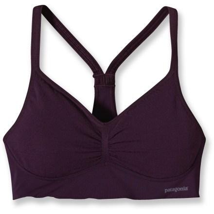 Fitness Breathable comfort all day, the Patagonia Barely Everyday B/C bra offers active women seamless comfort and a luxurious, lacelike texture. Designed to wick moisture and provide high breathability, the lightweight fabric blend is soft and comfortable; plus, it features high recycled content. Double-layer seamless construction ensures comfort and modesty, especially during high-movement activities. The Patagonia Barely Everyday B/C bra features a V-front neckline and racerback straps that won't slip; under panel band provides light support. Closeout. - $29.93