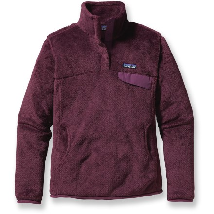 You'll find this Patagonia Re-Tool Snap-T pullover to be a quintessential piece of your wardrobe. Layer it up or wear it alone, depending on the season! Made of lightweight, compressible deep-pile Polartec(R) Thermal Pro(R) fleece; extra-long fibers which provide warmth retention without bulkiness. Stand-up collar has double fleece for warmth; front placket hides the 4-snap closure and is reinforced with durable Supplex(R) nylon. Yoke and princess seams add contouring and shape. Brushed microfleece trim on cuffs and hem. Supplex nylon chest pocket flap; kangaroo-style handwarmer pocket. Patagonia Re-Tool pullover is slim-fitting and hits just at the top of the thighs. Closeout. - $79.93