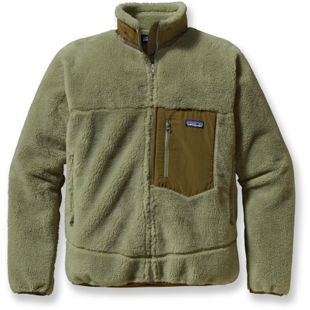 Also known as your most-often-borrowed-jacket, the Patagonia Classic Retro-X jacket takes both the wind and the chill out of windchill. A windproof and breathable barrier comes sandwiched between cozy recycled polyester Synchilla(R) pile and a Capilene(R) brushed-mesh lining. Full-length zipper is backed by a storm flap. Stand-up collar protects your neck, and the Lycra(R) spandex binding at cuffs and hem seal in warmth. Zippered hand pockets are lined with a moisture-wicking brushed polyester mesh. Vertical zippered chest pocket. Closeout. - $138.93