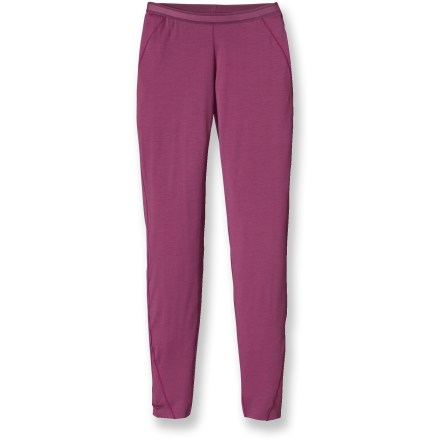 Adding a layer of warmth to your winter activities, the women's Patagonia Merino 2 Lightweight long underwear bottoms offer high performance and a great fit. Jersey-knit merino wool provides superior softness and odor-resistant performance; wool is processed without the use of chlorine. Recycled polyester enhances moisture-wicking performance and increases durability. Spandex adds a touch of stretch. Brushed elastic waistband enhances comfort. Side seams are offset to minimize abrasion and irritation. Slim fit. Machine wash the women's Patagonia Merino 2 Lightweight long underwear bottoms in cold water; tumble dry on low. Closeout. - $49.93