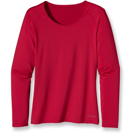 Wear it alone or as a long underwear layer; the silky soft, featherweight Patagonia Capilene(R) 1 Silkweight stretch crew top keeps you dry and cool when thick base layers are too much. Stretchy, quick-drying and moisture wicking, the polyester and spandex fabric offers comfort in a wide range of temperatures. Natural odor control employs benign amino acids to help keep funky scents at bay. Fabric provides UPF 50+ sun protection, shielding skin from harmful ultraviolet rays. Angled side panels help prevent seam discomfort where arms are most active next to fabric. Raglan sleeves eliminate shoulder seams, enhancing comfort under pack straps. Contoured, feminine fit makes the Patagonia Capilene 1 Silkweight Stretch crew an easy-layering garment. Closeout. - $22.93