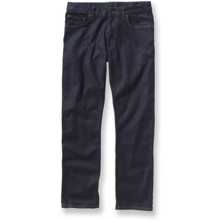 Camp and Hike The Patagonia Straight jeans are great for almost any occasion, from a casual day at work to an evening on the town. Durable organic cotton is blended with a touch of spandex for stretchiness. Jeans feature a standard 5-pocket design, zip fly and shank-button closure. Closeout. - $59.93