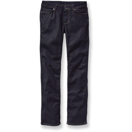 Camp and Hike The women's Patagonia Low-Rise Straight jeans offer classic 5-pocket jeans styling in a slim-leg silhouette with a longer 34 in. inseam. Jeans are made of organic cotton denim with stretch for fit and comfort. Fit is initially snug but then conforms to your body with wear. Zip-fly shank-button closure. Closeout. - $59.73
