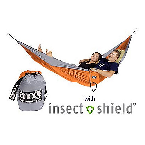 Camp and Hike The DoubleNest Hammock W/ Insect Shield by Eagle Nest . ENO's DoubleNest Hammock, now with Built-In Insect Protection. Using the Durable and Effective in. Insect Shieldin. treatment, the hammock will repel insects through 6 months of exposure to the elements. With room for two, the Doublenest is great for family outings or just relaxing in the backyard. The Doublenest packs down to the size of a grapefruit, so there is no excuse to be without it. Features of the DoubleNest Hammock W/ Insect Shield by Eagle Nest Durable and Effective in.Insect Shieldin. Treatment Super Strong Nautical Grade Line High Grade Nylon Triple Interlocking Stiching   High Strength Breathable Woven Nylon High strength nylon Specifications: Maximum Weight: 400lbs Dimensions: 6' 8in. x 9' 10in. Weight: 22oz - $89.95