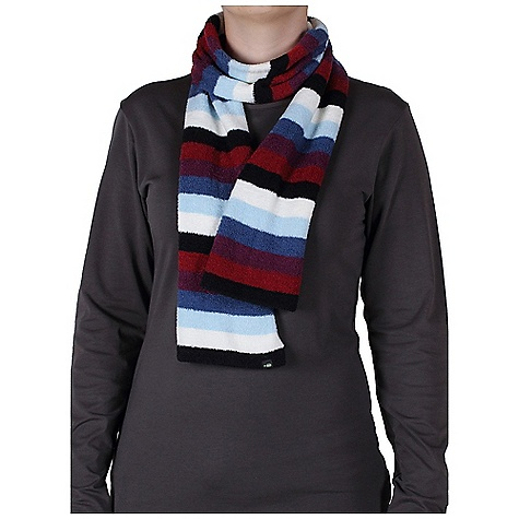 Ex Officio Women's Irresistible Neska 6 Stripe Scarf DECENT FEATURES of the Ex Officio Women's Irresistible Neska 6 Stripe Scarf Supremely soft chenille feather fleece Fun multi-stripe space-dye pattern High warmth to weight ratio Lightweight Quick drying Wrinkle resistant Thermal Stretch fabric The SPECS Length: 56in. Care Instructions: Machine wash cold;Dry flat Fabric:100% Nylon - $39.95