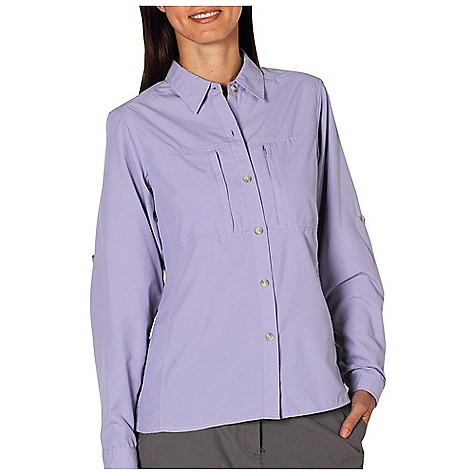 Free Shipping. Ex Officio Women's Dryflylite Stripe L-S Top DECENT FEATURES of the Ex Officio Women's Dryflylite Stripe L/S Top UPF Sun Guard 30+ Climate Control back ventilation Upper back Floramesh lining Roll-up sleeve tabs Critical seams moved off the shoulder to prevent rubbing Napoleon-style security zip front pockets Bottom side slits for mobility Shaped feminine silhouette Lightweight Moisture wicking Quick drying Wrinkle resistant Soft peach finish The SPECS Care Instructions: Machine wash cold; Tumble dry low Fabric: 56% Nylon / 44% Polyester Fit Description: Natural Garment Weight: 5.5 oz. - $74.95